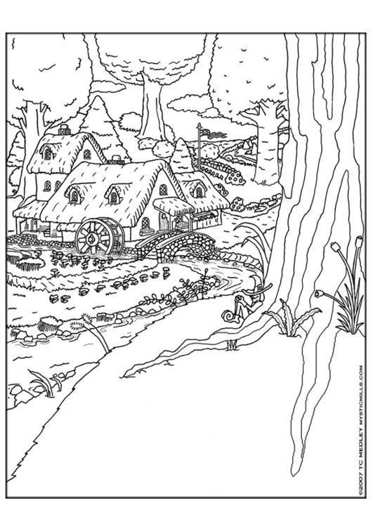 Coloring page elf village coloring picture elf village for Village coloring page