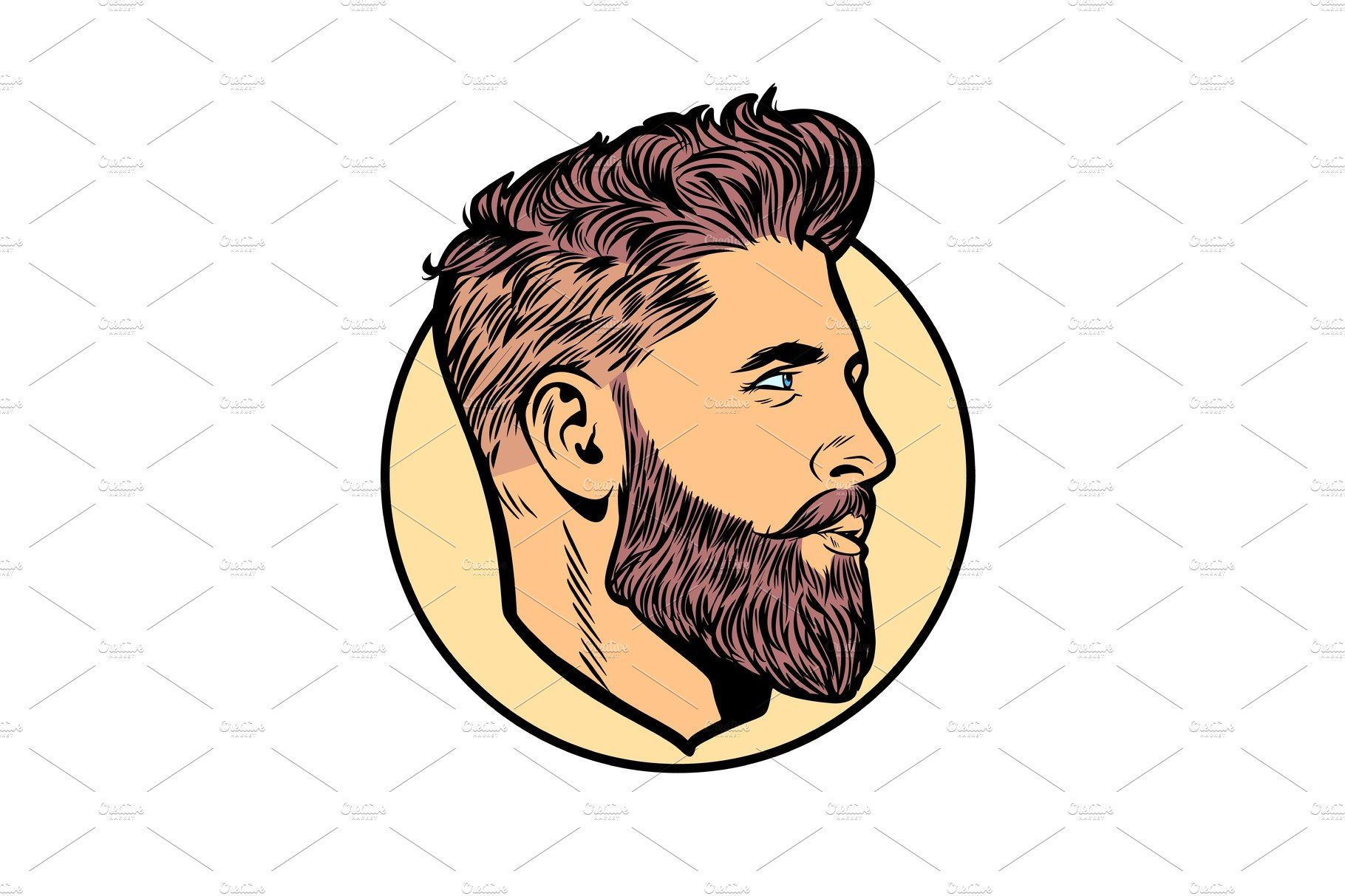 Pop Art Men Hipster Face Profile Pop Art Retro Vector Illustration Face Profile