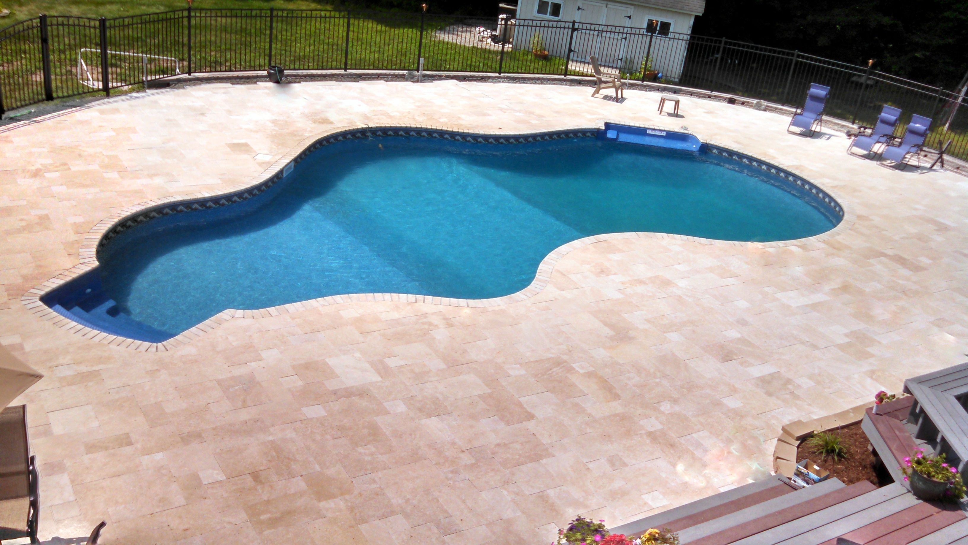 Ivory Travertine Pool Deck Coping Travertine Oasis