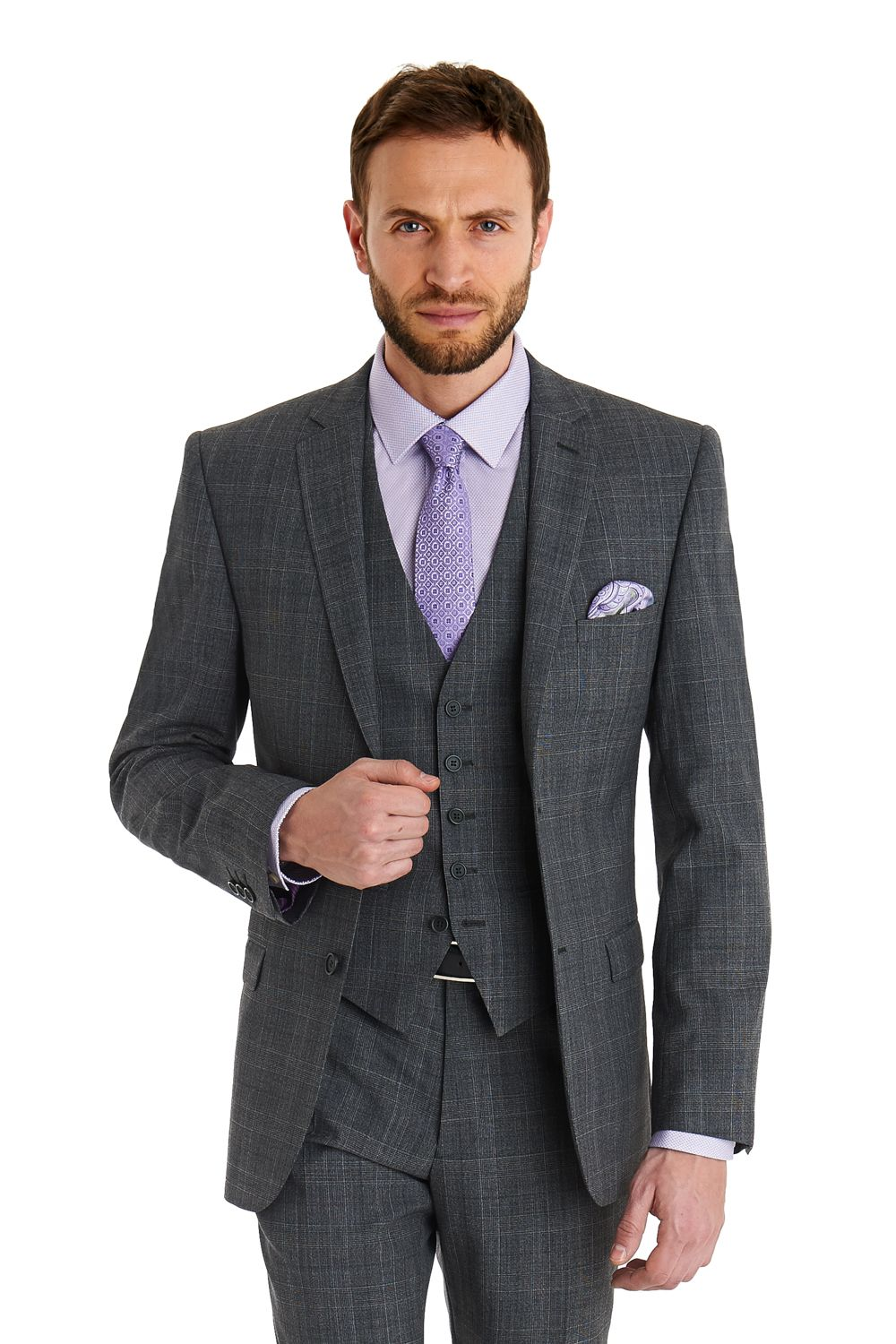ce59ab68e3273 This Ted Baker slim fit grey check suit is single breasted with a two  button fastening. It has a notch lapel