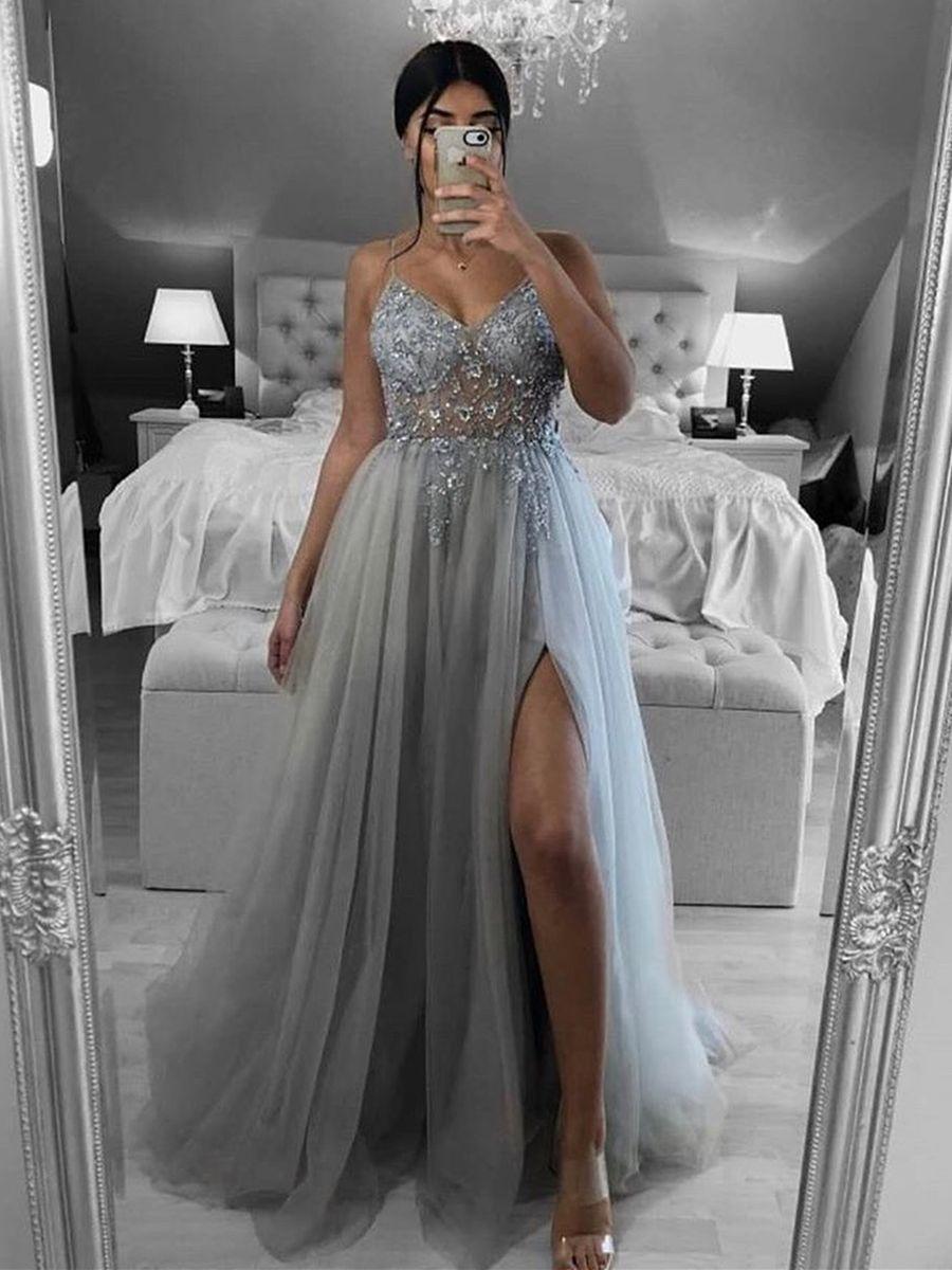 A Line V Neck Open Back Beaded Gray Long Prom Dresses ...