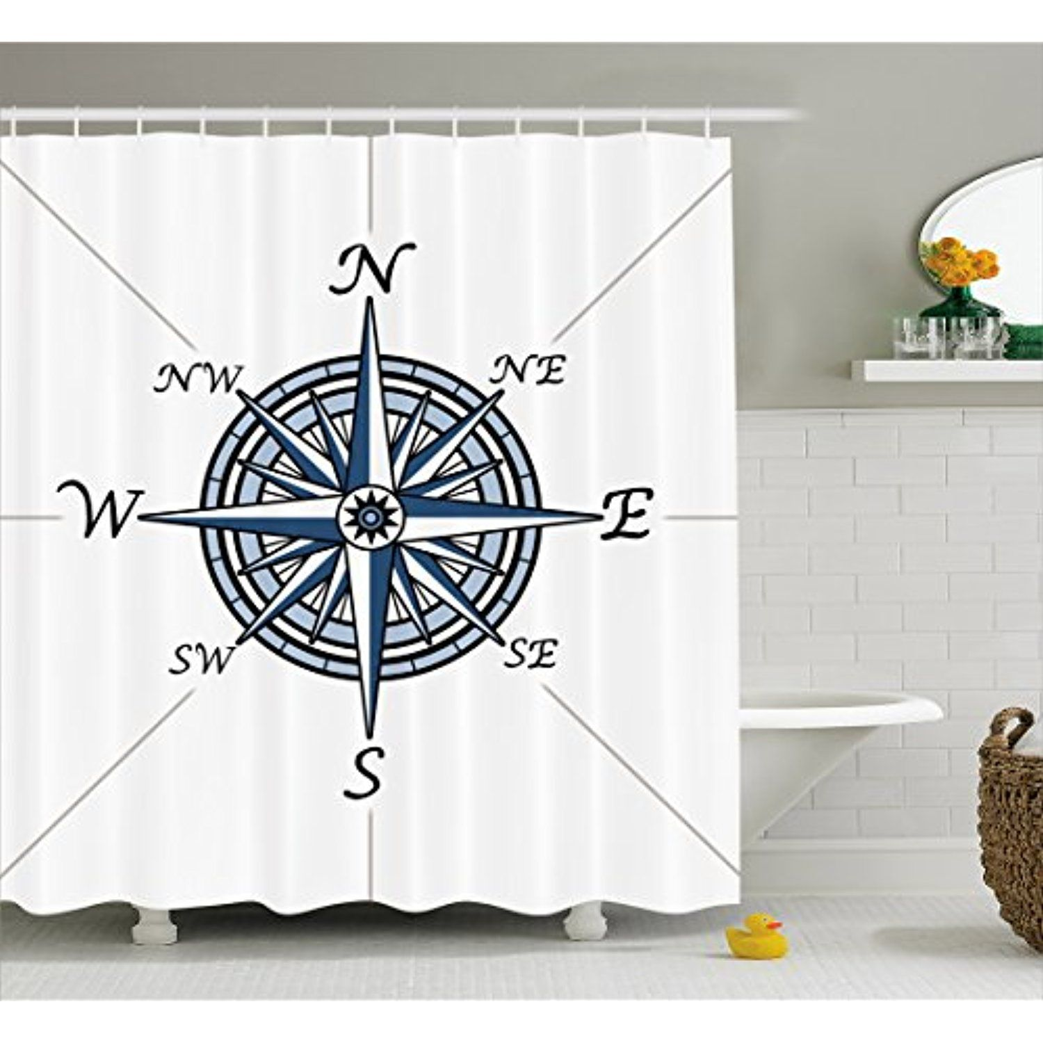 Compass Shower Curtain By Ambesonne Sea Color Themed Voyage