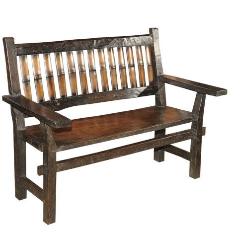 This antique country Philippine bench is hand made with ...