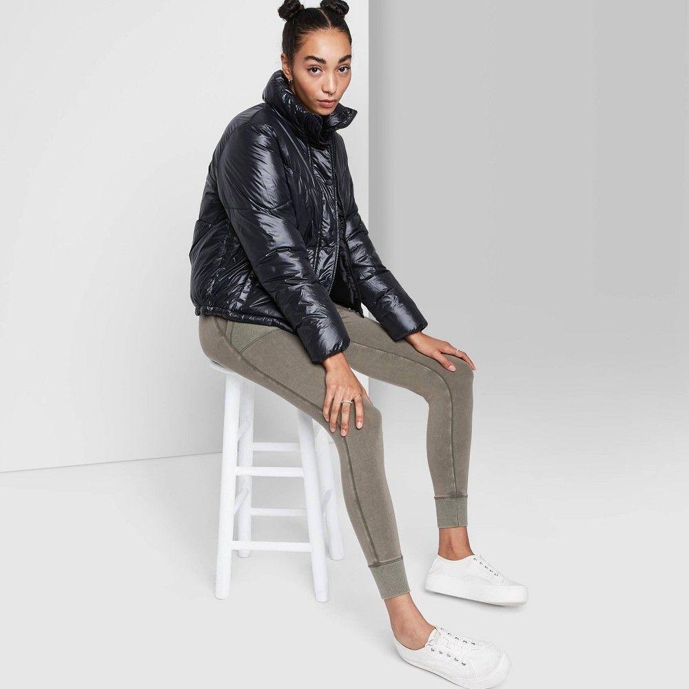Women S Cropped Retro Puffer Jacket Wild Fable Black Xl Women Crop Puffer Jackets Fashion [ 1000 x 1000 Pixel ]