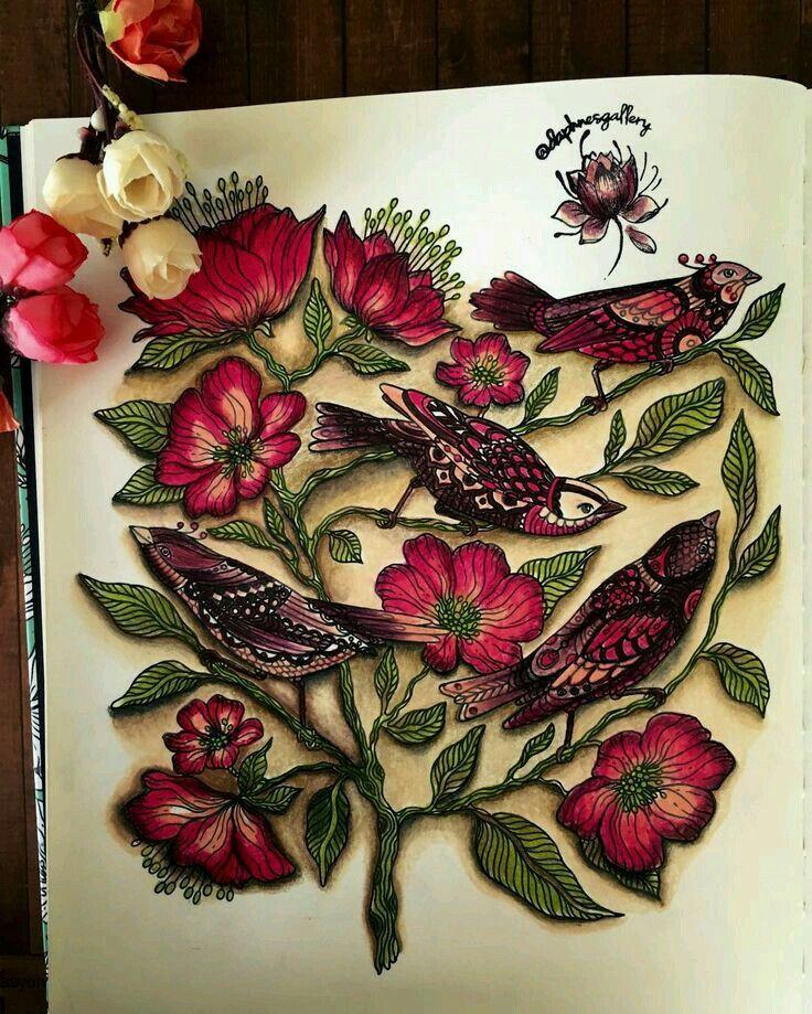 Johanna Basford Secret Garden Shading Shadows For Depth Coloring BooksColouringAdult