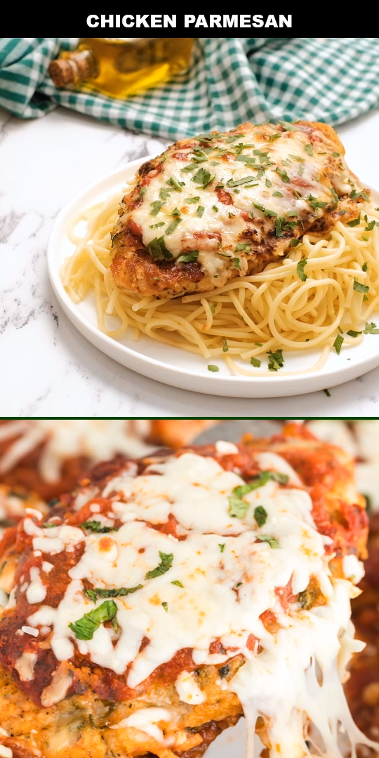 Easy, delicious and simple, this authentic chicken parmesan is a classic homemade Italian favorite. Breaded chicken, marinara sauce, and cheese are baked before being topped with fresh basil and served over spaghetti. @PerdueFarms #PerdueFarmsFarmtoHome #PerdueFarms_Partner AD