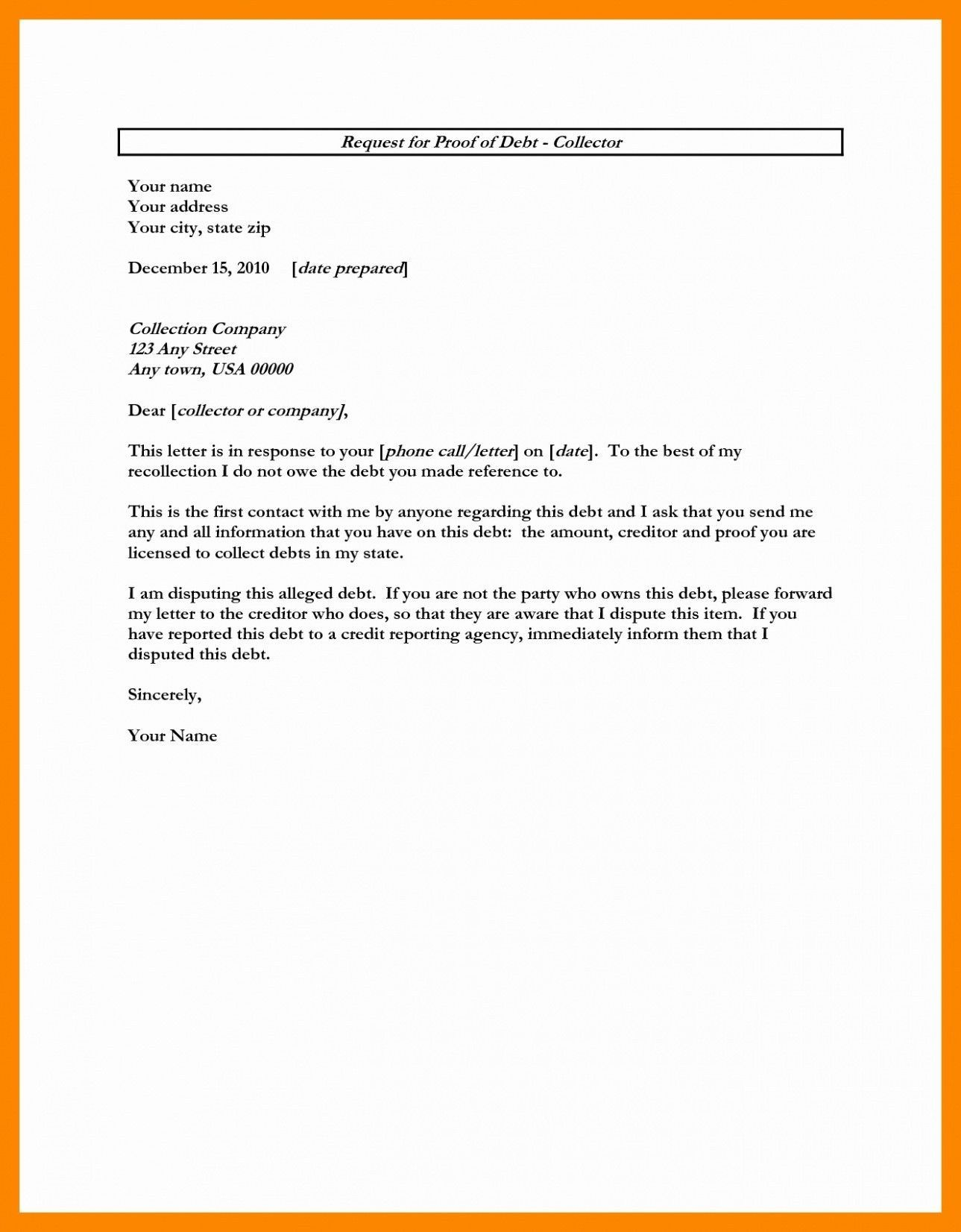 Collection Proof Letter.Template Letter For Proof Debt Refrence Free Download Sample
