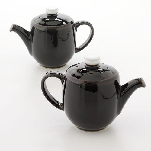 Denby Jet Black Mini Teapot Salt and Pepper Shaker Set  sc 1 st  Pinterest & Denby Jet Black Mini Teapot Salt and Pepper Shaker Set ...