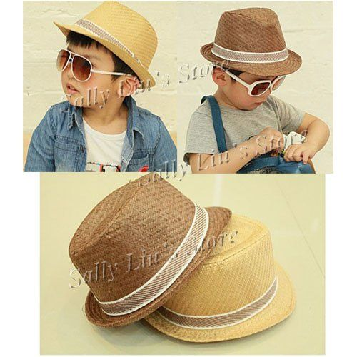 cdb3a871de0 Solid Color Baby Straw Hat Kids Fedoras Baby Straw Cowboy Hat Children  Summer Straw Sunhats Kids Dicers Fedoras Free Shipping-in Hats   Caps from  Apparel ...