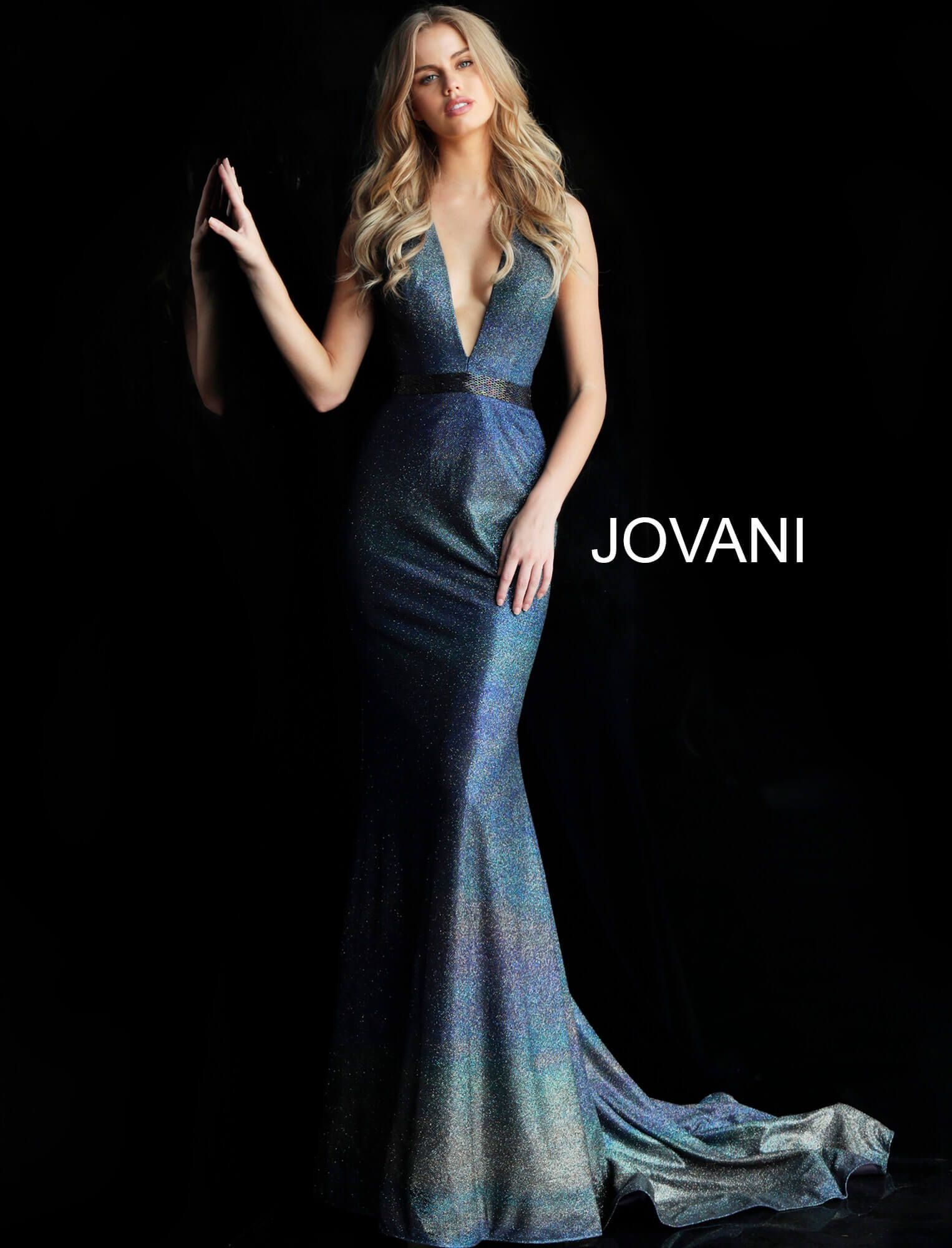 87876d40d87 This Jovani 63971 navy multicolor formal dress features a slim-flare  silhouette with a plunging halter neckline