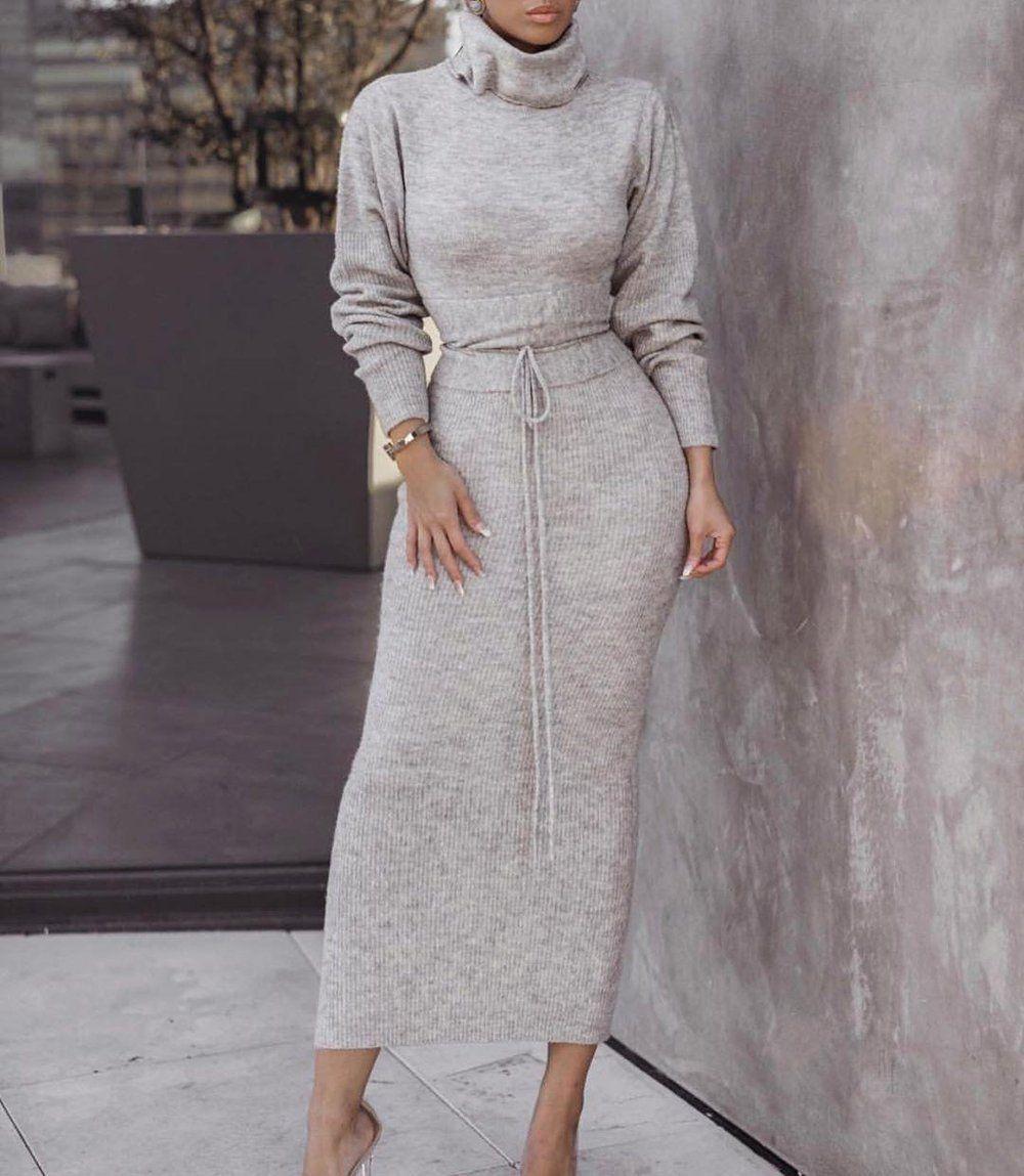 Grey Turtle Neck Long Sleeve Bodycon Midi Sweater Dress