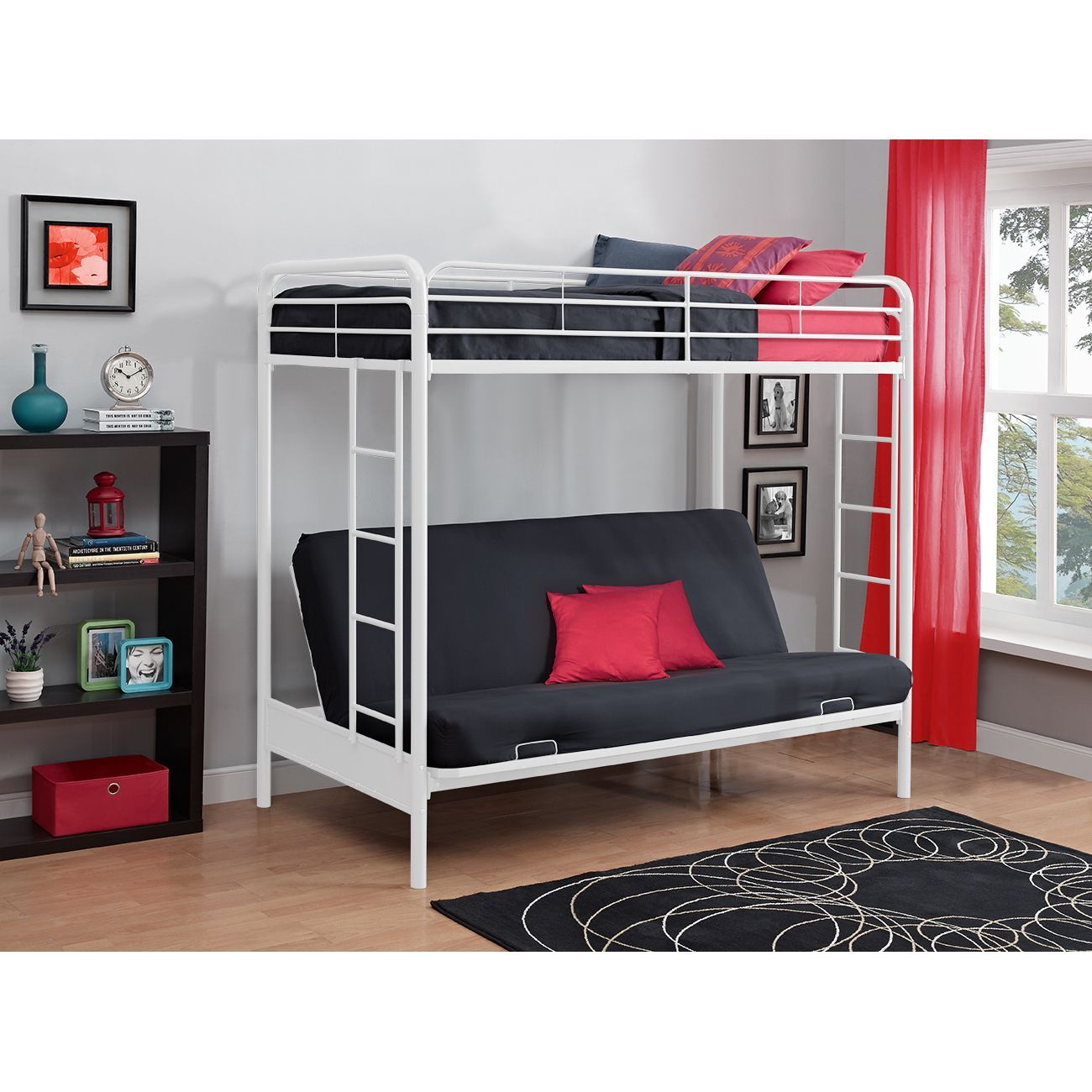 Dhp Twin Over Futon White Metal Bunk Bed With Images White Bunk Beds Bunk Beds With Stairs Metal Bunk Beds