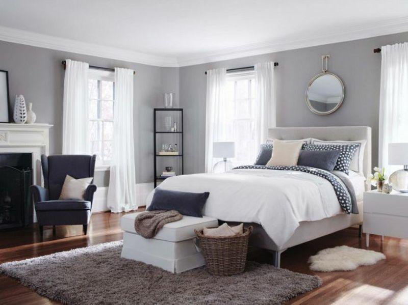 Graue Schlafzimmer Wandfarbe in 100 Beispielen