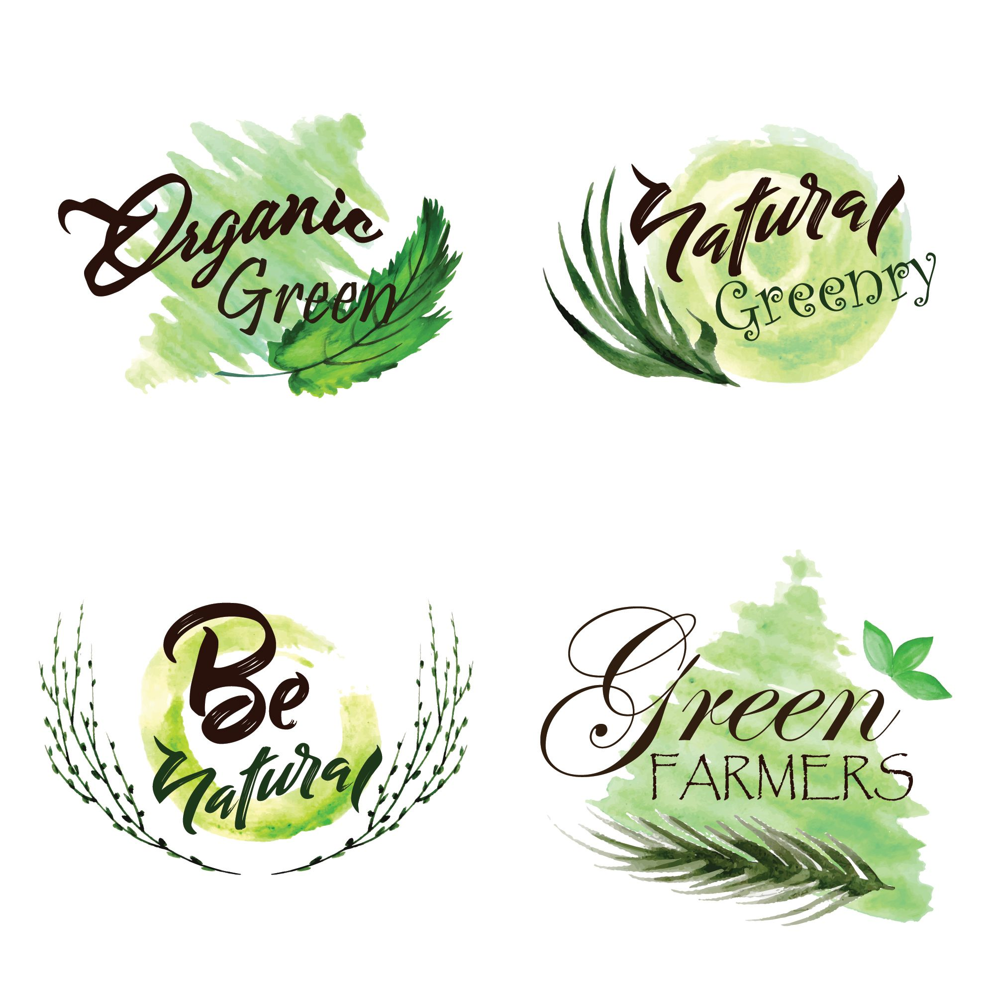 Download Watercolor Green Leaves Logo Collection For Free Leaf