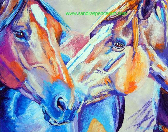 Original Horse Friends Oil Painting 11x14 the kiss by mybunnies3