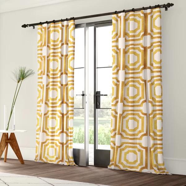 Mercury Row Donato Geometric Room Darkening Rod Pocket Single Curtain Panel Birch Lane Curtains Colorful Curtains Stylish Curtains