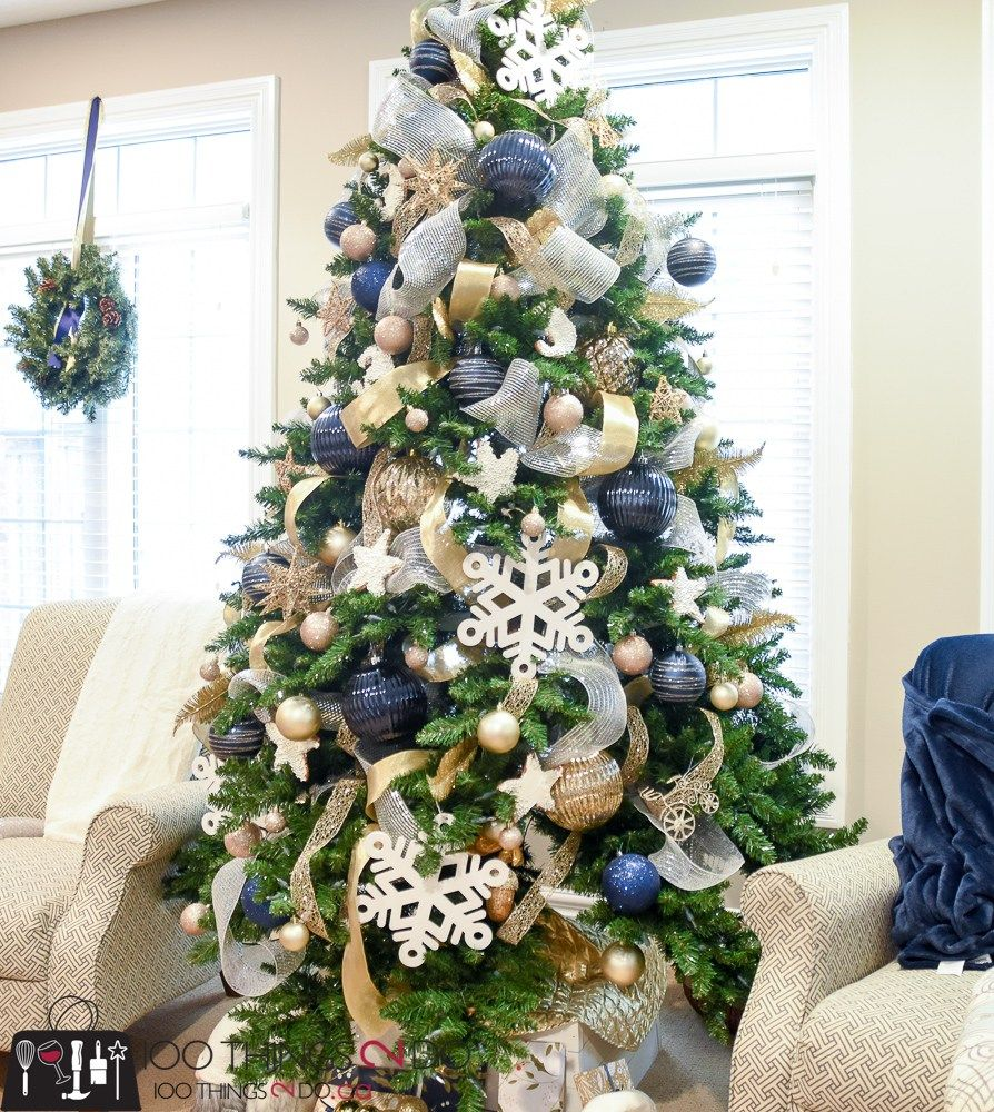 Christmas Tree With Silver Decorations: Christmas Tree 2017 - Navy, Gold And White