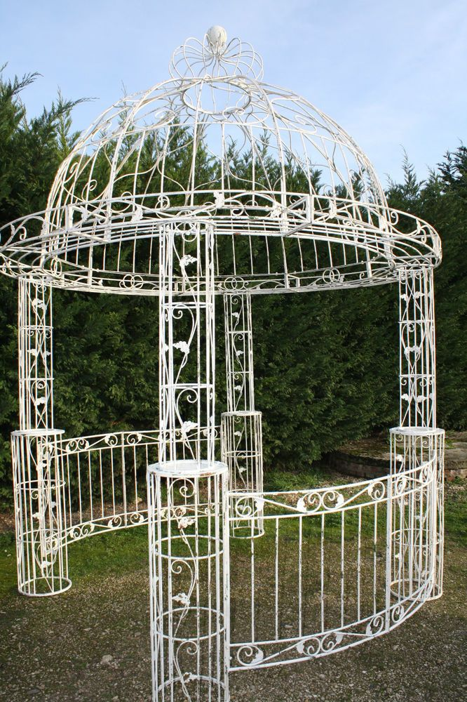 Gloriette Pergola Tonnelle En Fer Patine A L Ancienne Garden Decor Items Pergola Garden Arch