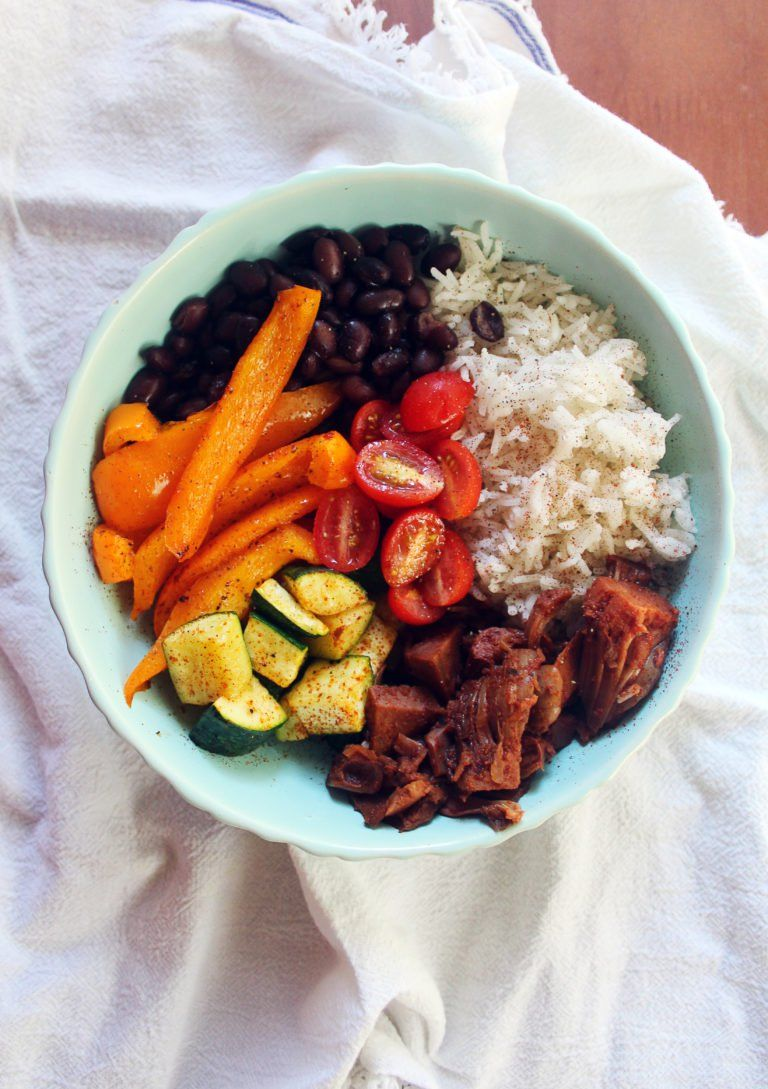 Deconstructed Vegan Jackfruit Taco Bowl
