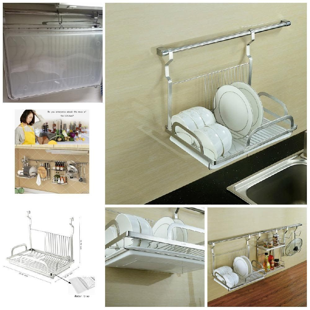 Wall Mounted Kitchen Drip Dish Drainer Plates Rack Stainless Steel Drain Board Plate Racks Dish Drainers Wall Mount