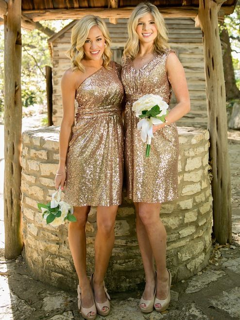 Gorgeous rose gold sequin and navy sequin bridesmaids dresses by Revelry!  Shop trendy fbb883b12b9e