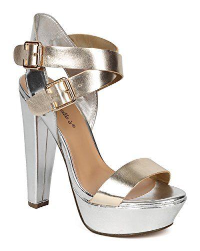 08704e9f25b Breckelles CF97 Women Metallic Open Toe Cross Ankle Strap Chunky Heel -  Champagne   Silver (
