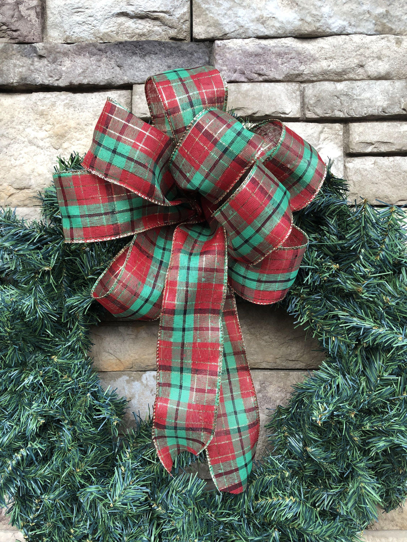 Photo of 4 Large Tartan Farmhouse Plaid Wired Bows-Farmhouse Wreath Ribbon-Large Farmhouse Tree Bows-Farmhouse Wreath-Farmhouse Christmas Tree Topper