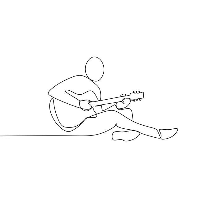 Person Sing A Song With Acoustic Guitar Continuous One Line Art Drawing Vector Illustration Minimalist Design Player Man Teenager Png And Vector With Transpa Line Art Drawings Guitar Drawing Outline Art