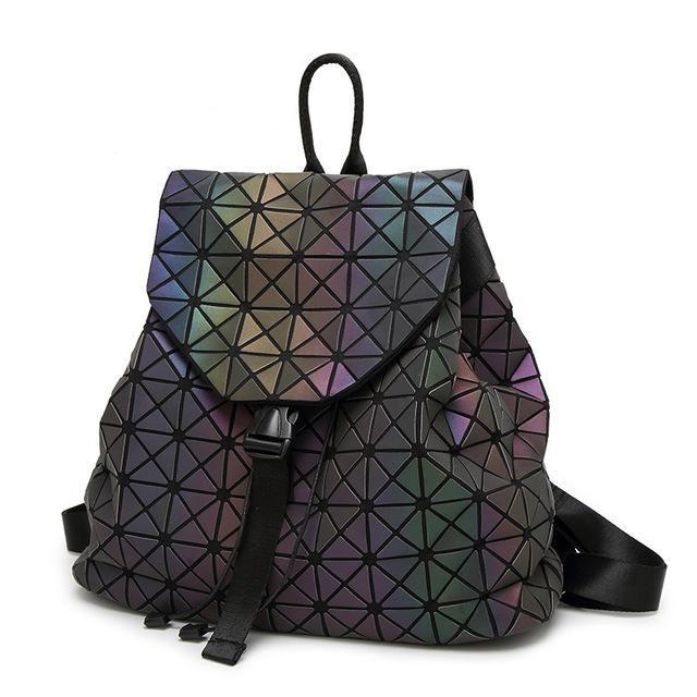 c9ec61609c Women Backpack Feminine Geometric Plaid Sequin Female Backpacks For Teenage  Girls Bagpack Drawstring Bag Holographic Backpack