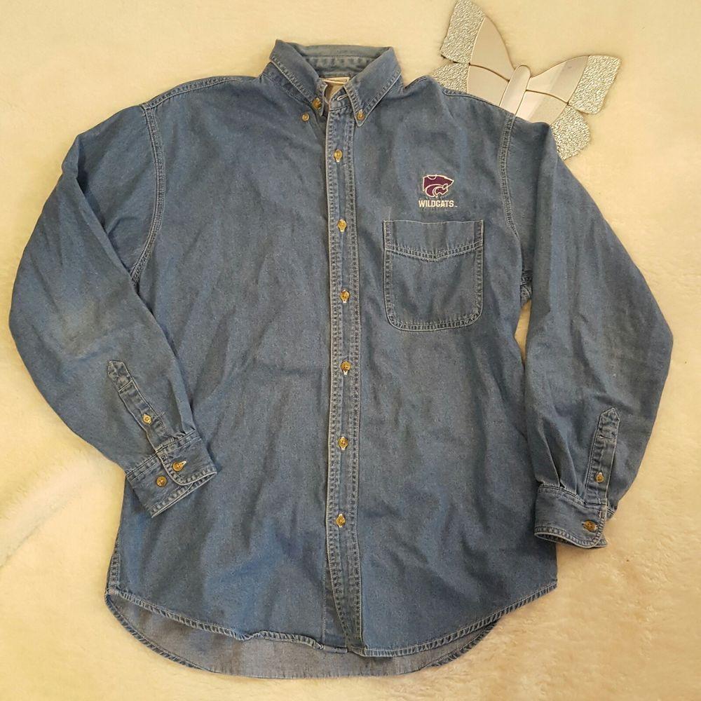 122c791f8d Mens Lee Sport K-State Wildcats Button Front Denim Shirt Size Medium  504