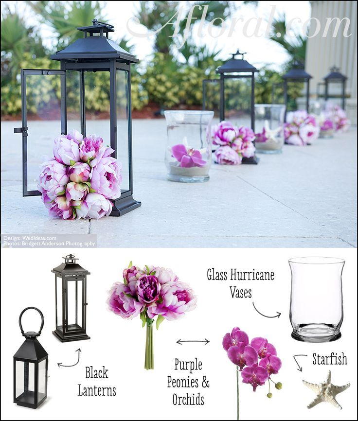 Wedding aisle ceremony decor purple peonies and orchids for Artificial flowers for wedding decoration