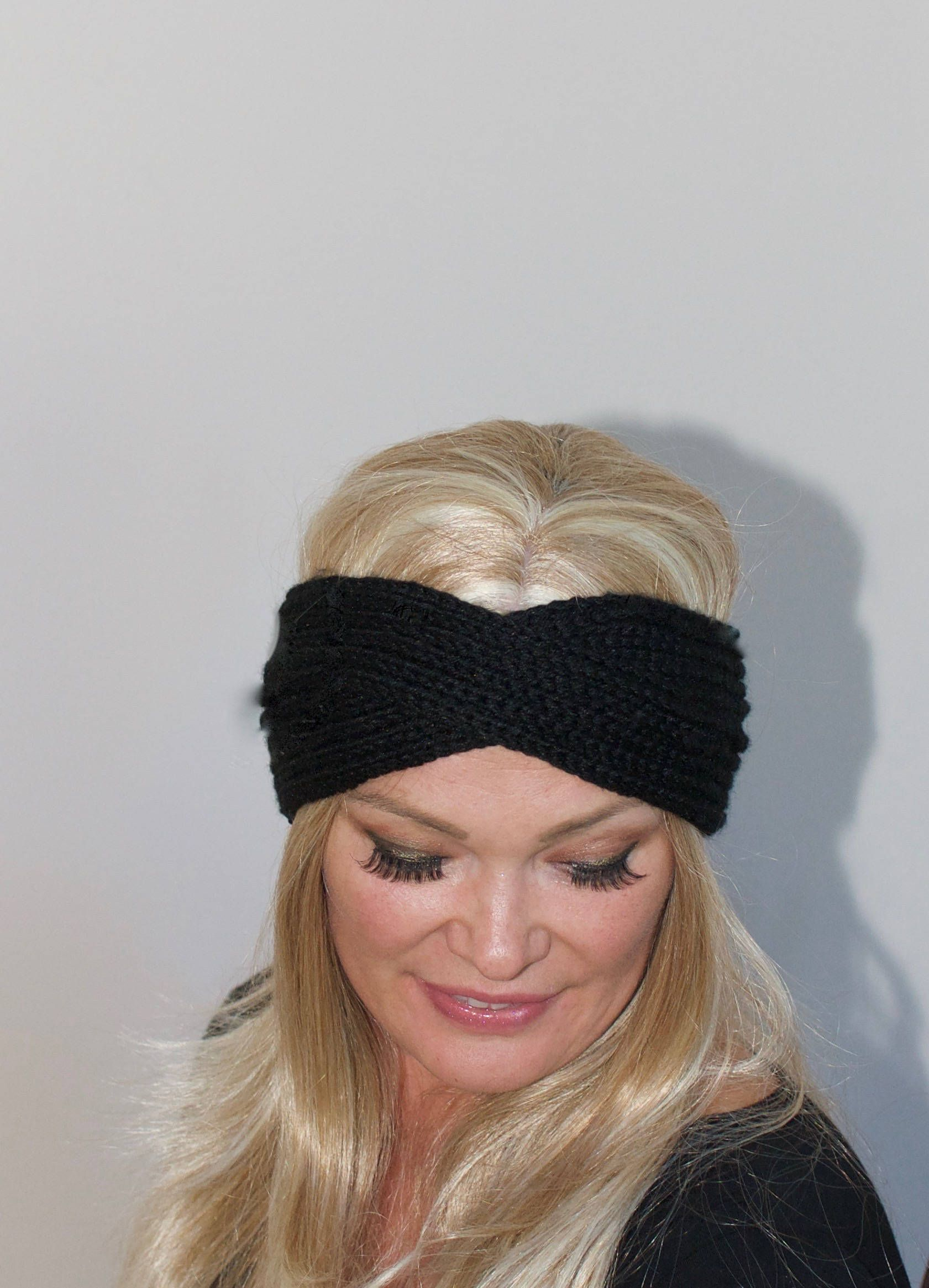 9cd0868f741 Turban Headband Crochet Head wrap Black Headband Black Women ear warmer  Black knit headband Christmas Gift under 25 by lucymir on Etsy