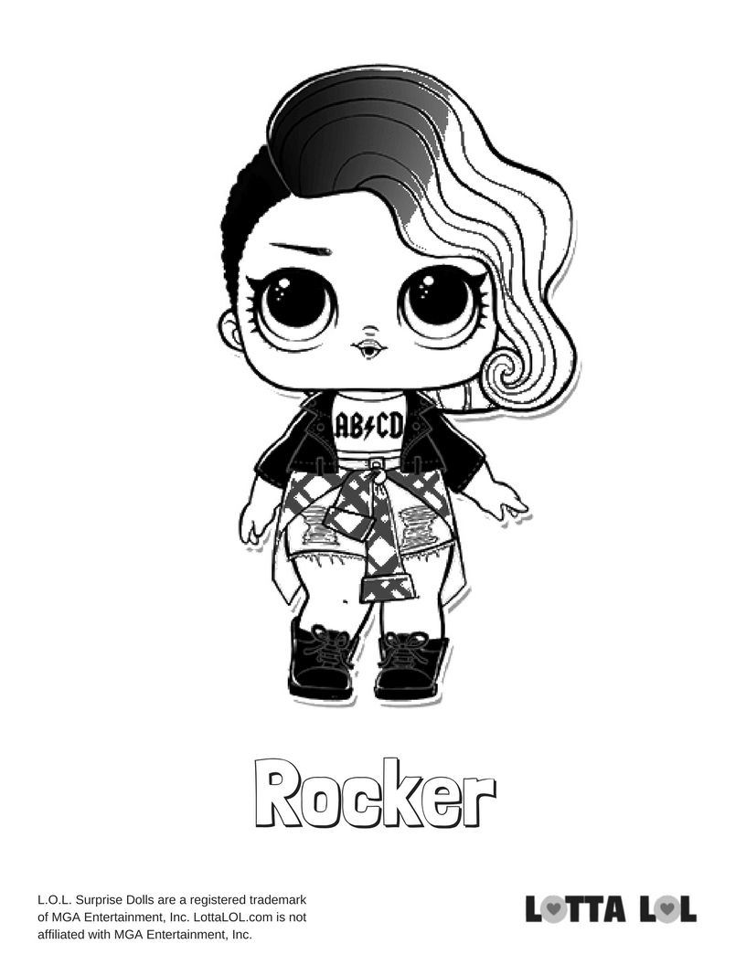 rocker coloring pages Rocker Coloring Page Lotta LOL | LOL party | Coloring pages, Lol  rocker coloring pages
