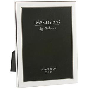 White and Silver Plated 6 x 8 Photo Frame -m1