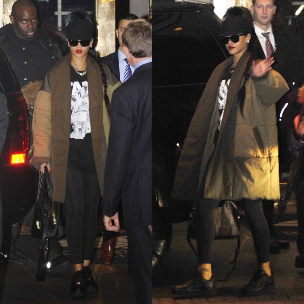 Rihanna wearing Fendi fur pom pom baseball cap 993deabf4c8