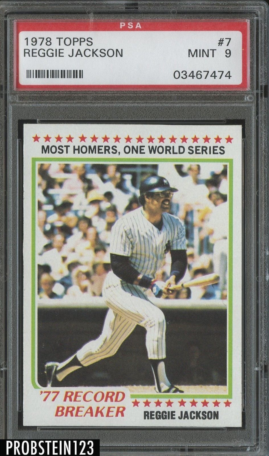 1978 Topps #7 Reggie Jackson PSA 9 MINT New York Yankees Baseball Card