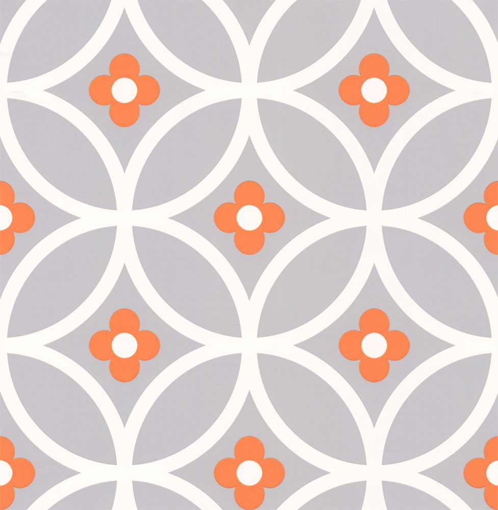 Daisy chain large orange surprise wallpaper by layla faye mostly