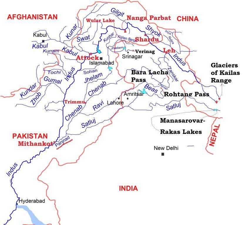 Indus River System JhelumChenabSutjajRaviBeas Geo - Major river systems of the world