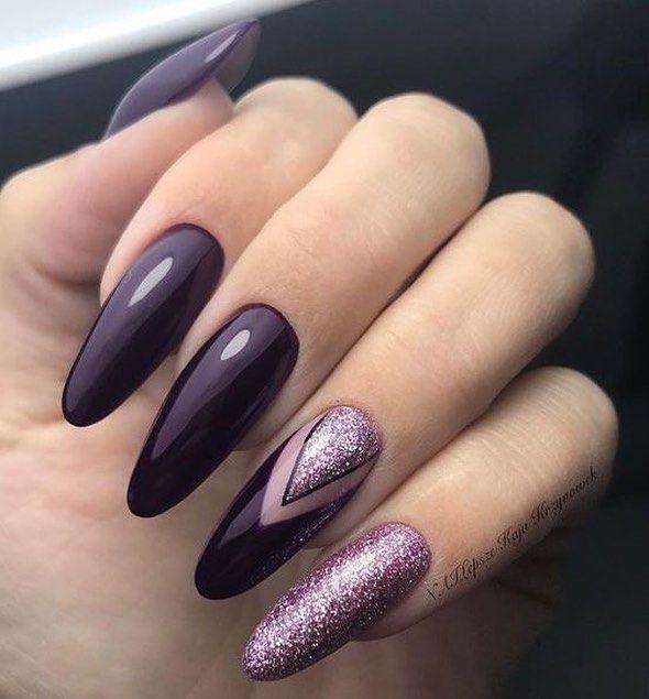 Beautiful purple nail color matched purple glitter nail art