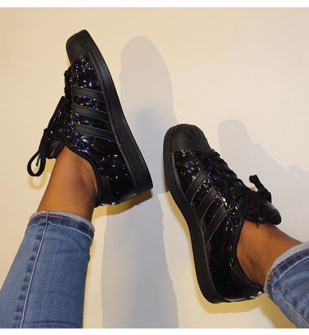 Adidas Superstar black holographic | Adidas superstar ...