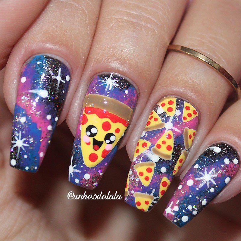 Unhas Decoradas Pizza Kawaii | Pinterest | Manicure, Makeup and Art ...