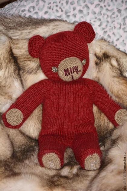 Медведь большой вязаный - бордовый,медведь,медведь вязаный ...