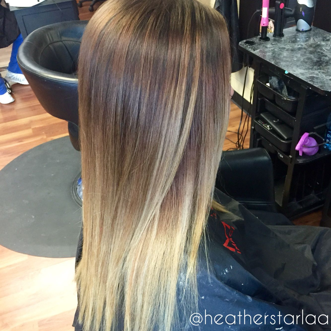 Brown To Blonde Balayage Ombre Straight Hair Balayage