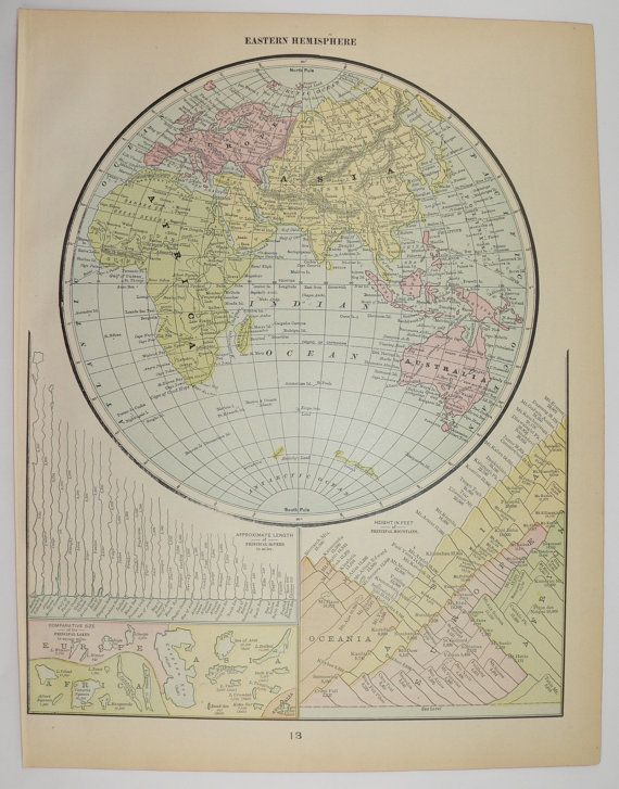 Arctic Circle On World Map.Eastern Hemisphere Map 1902 World Map Globe Vintage Map Of North