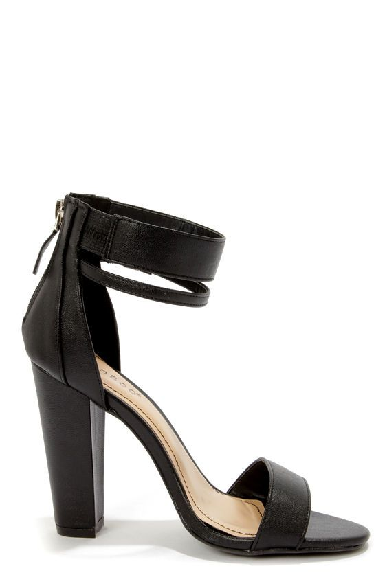 3efe092a9a84 Bamboo Senza 01 Black Single Strap High Heels at LuLus.com!