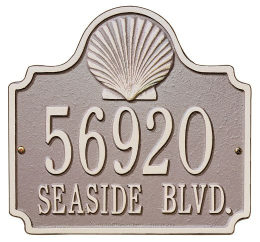 Scallop Shell Address Plaque Address Plaque Metal Wall Plaques Sea Shell Decor