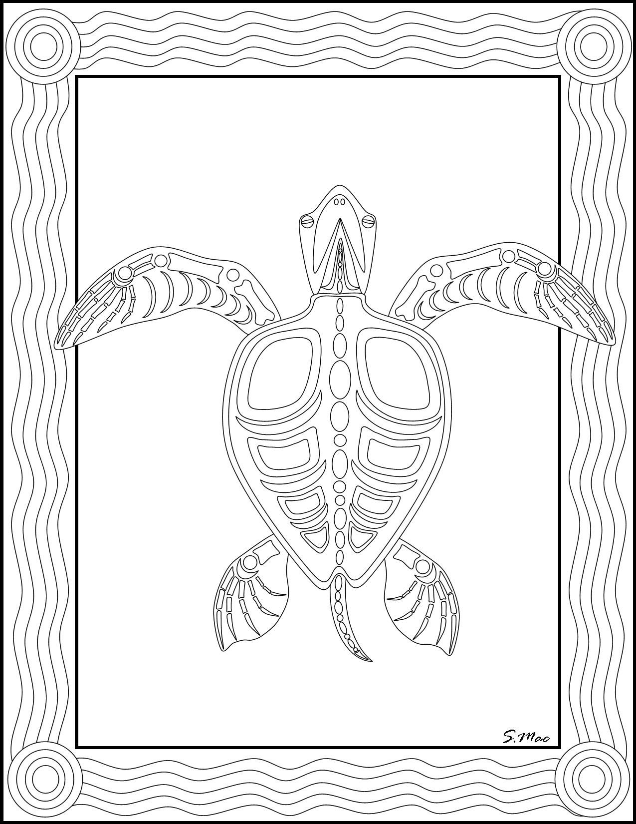 smacs sea turtle x ray art coloring page