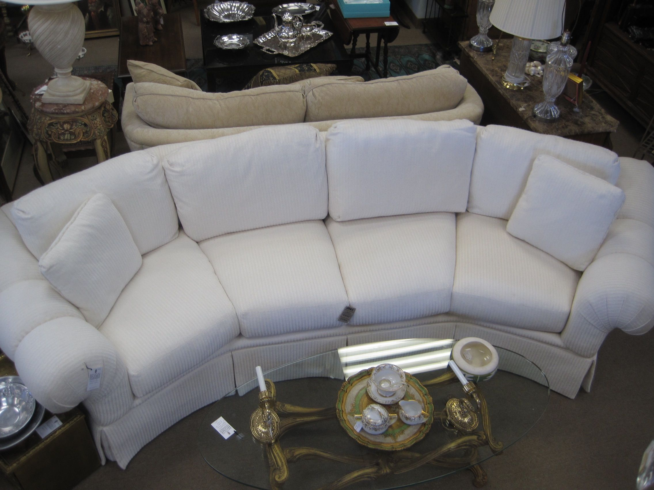 Beautiful Thomasville White Curved Sofa