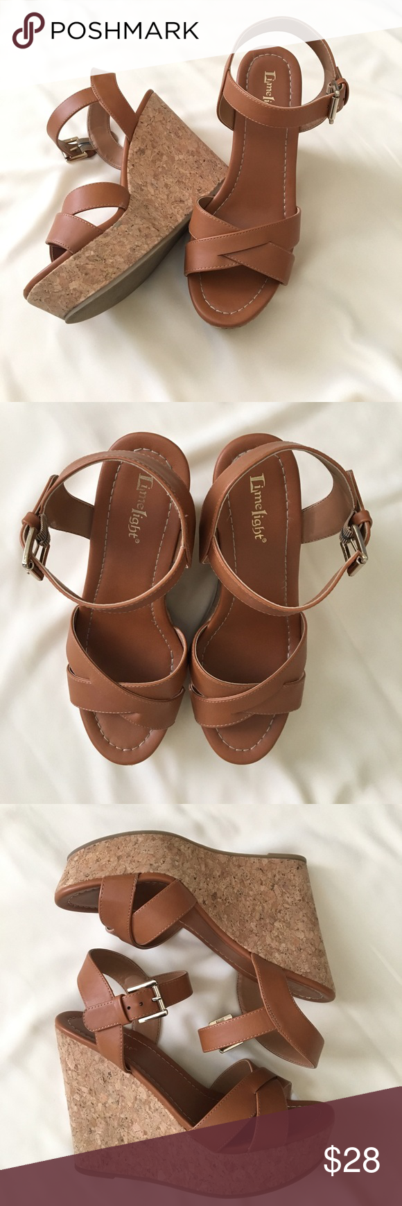 9776f1b31f1 Limelight Brown Wedge Sandals Approx. 5