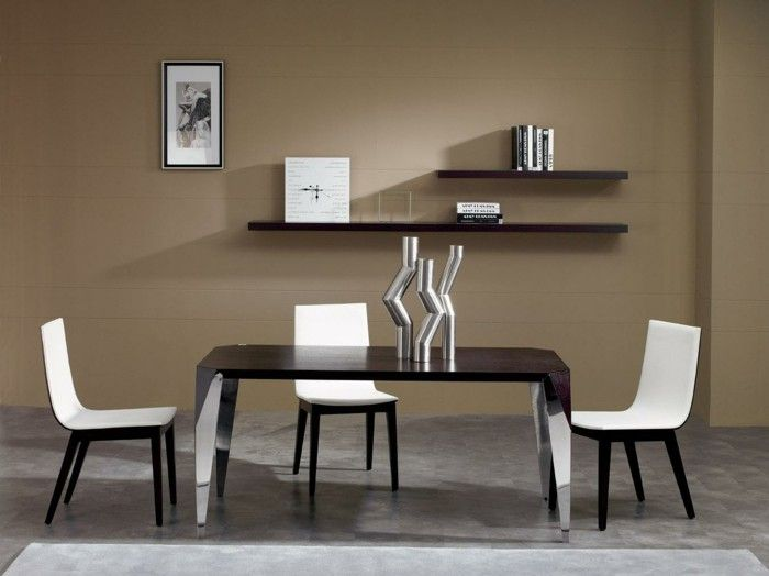 High Quality Neutral Brown Wall Color Feat Two Tier Bookshelf Design And Modern Small  Dining Room Table Set Plus Black White Chairs Idea Photo